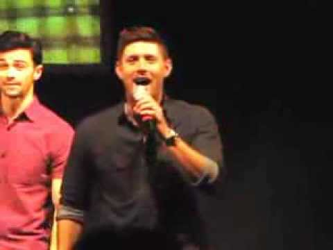 Jensen Ackles singing '' Carry on My Wayward Son ''